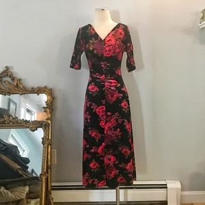Vintage Betsey Johnson Velvet Dress Floral Print